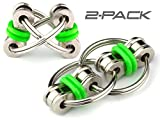 Flippy Chain Fidget Toy by Tom's Fidgets - Perfect for ADHD, Anxiety, and Autism - Bike Chain Fidget Stress Reducer for Adults and Kids (Green 2PK)
