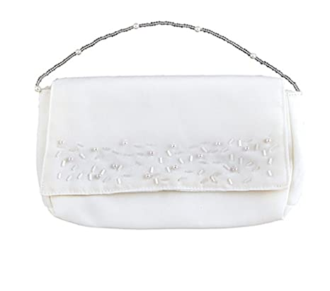 fad771081b53 Amazon.com: White Satin First Communion Clutch Purse with Shoulder ...