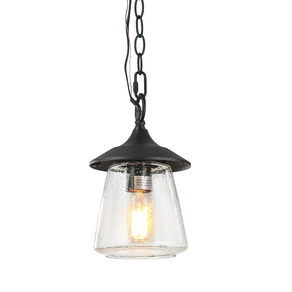 LOG BARN A03355 1-Light Outdoor Hanging Lantern Transitional Style in Mystic Black with Bubbled Glass Porch Light