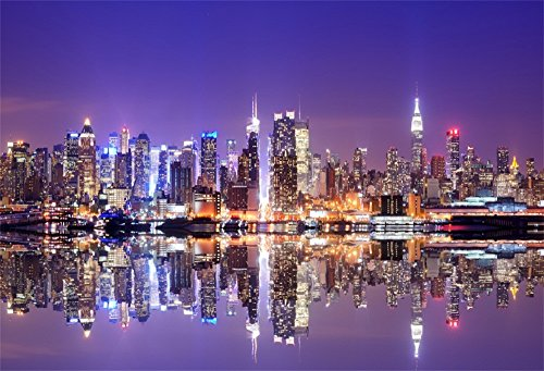LFEEY 10x8ft New York City Night View Photo Backdrop American City Landscape Famous Landmark Skyscrapers Background for Photography Studio -