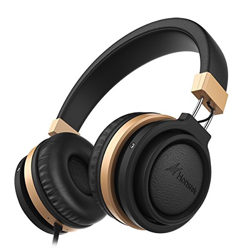 Headphones with Microphone, Honstek A5 Portable Headphones Stereo Bass Headset with Volume Control and in-line Microphone for Cellphones and PC and Laptop and Tablet (Black Gold) by Honstek