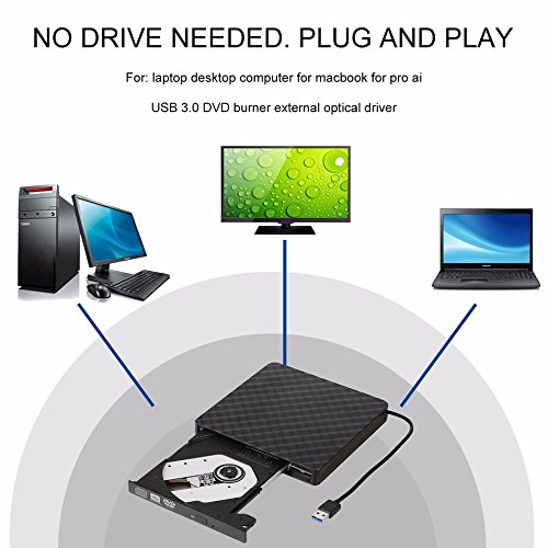 TJ8 External CD Drive-USB 3.0 Portable Slim CD DVD +/-RW Drive Writer/Rewriter/Burner,High Speed Date Transfer for WIN7/8/10/Linux/Mac OS Macbook Laptop Desktop Notebook by TJ8 (Image #2)