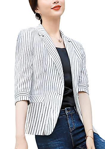 Women's Casual One Button Blazer Jacket Slim Fit Work Office Blazer (White-88185, Medium)