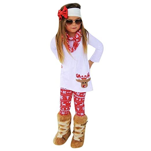 Sikye Toddler Baby Girls Xmas Deer Top Print Pant and Scarf 3Pcs Clothing  Set Christmas Dress - Amazon.com: Sikye Toddler Baby Girls Xmas Deer Top Print Pant And