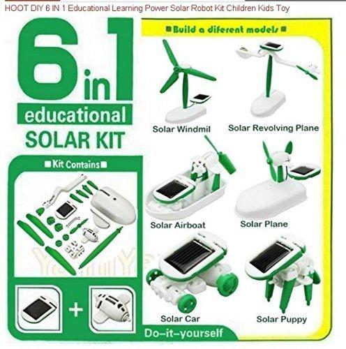 Electronictechcrafts® DIY 6 IN 1 Educational Learning Power Solar Robot Kit Children Kids Toy - Six In One Solar Robot Kit