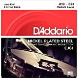 D\'Addario EJ61 Nickel 5-String Banjo Strings, Medium, 10-23