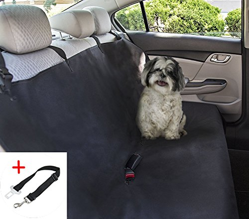 Pettom Waterproof Dog Seat Cover, Washable Back Seat Dog Cover for Cars - Dog Hammock Car Bench Seat Cover Rear Seat Protector for Pets 47 x 56 Inches (A Free Pet Car Safety Seat Belt )
