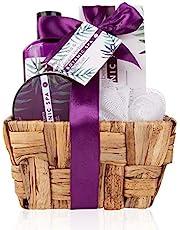 Accentra Gift Set Botanic SPA in a seagrass basket, bad- och duschset - 5-piece gift set i dekorativ seagrass basket, bästa present till födelsedag, Alla hjärtans dag, etc