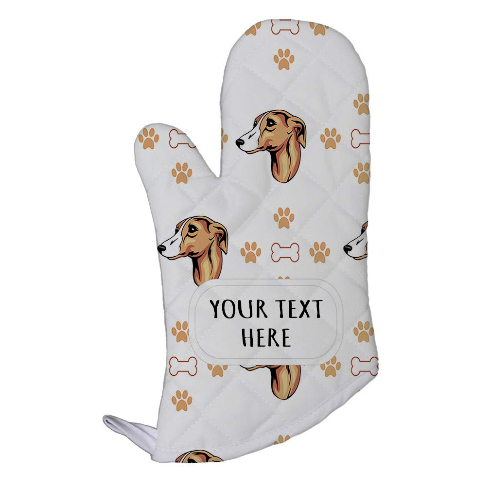 Style In Print Polyester Oven Mitt Custom Whippet Dog Bones Paws Pattern Adults Kitchen Mittens