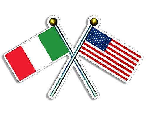 - Crossed Poles with USA & Italy Flags Sticker (italian american)
