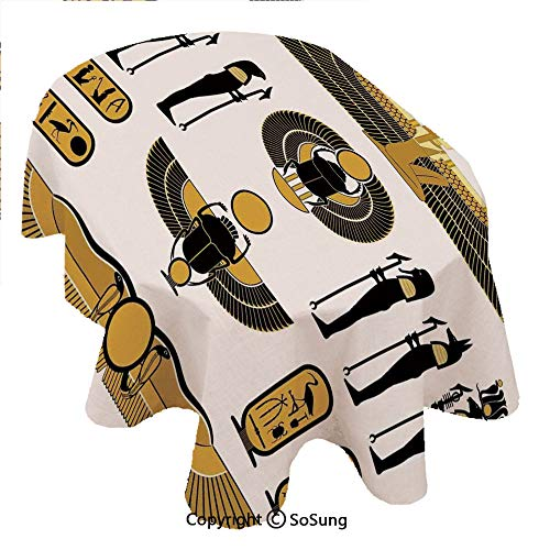 Egyptian Decor Oval Polyester Tablecloth,Old Historical Egyptian Spirit Symbol Myth Icons Mummy Sun Art Illustration,Dining Room Kitchen Oval Table Cover, 60 x 102 inches,Yellow Black ()