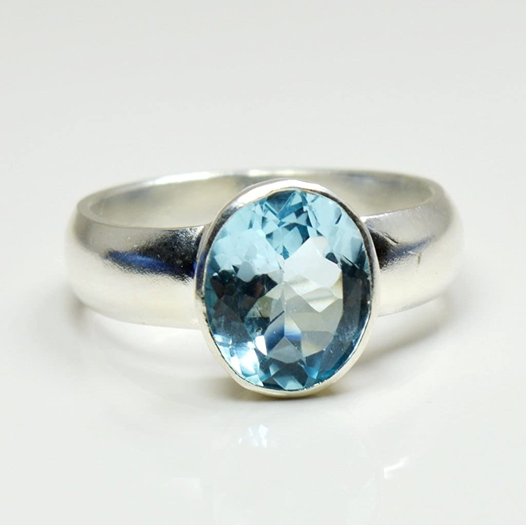 Gemsonclick Natural Oval Cut Birthstone Blue Topaz Silver Ring Handmade Jewelry Ring Ring Sizes 4 to 13