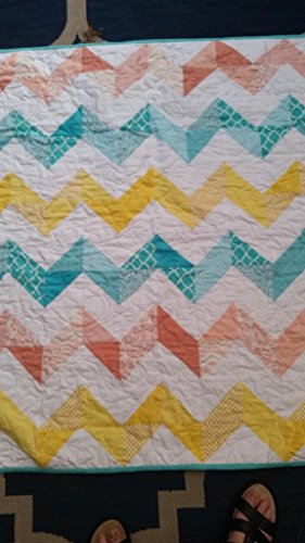 Chevron Crib Quilt, Zig Zag Crib Quilt, Gender Neutral Crib Quilt, Coral, Teal, Yellow, Pieced Quilt, Handmade Quilt, Homemade Quilt, Girl Crib Bedding, Boy Crib Bedding by Quiltsforu2