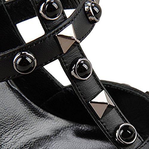 alla da a Black EU Pan Sandali Stiletto Cinturini Donna Caviglia Silver Borchie Festa Studs gray Punta Tacchi 45 con Caitlin Alti Corte Punta Scarpe Moda 35 zYaYU1q