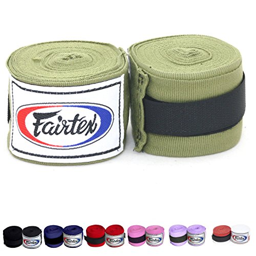 Fairtex Elastic Cotton Handwraps HW2 Hand Wraps Color Black Bleach Blue Red White Pink Purple Thaialnd used in Muay Thai, Boxing, Kickboxing, MMA (Green)