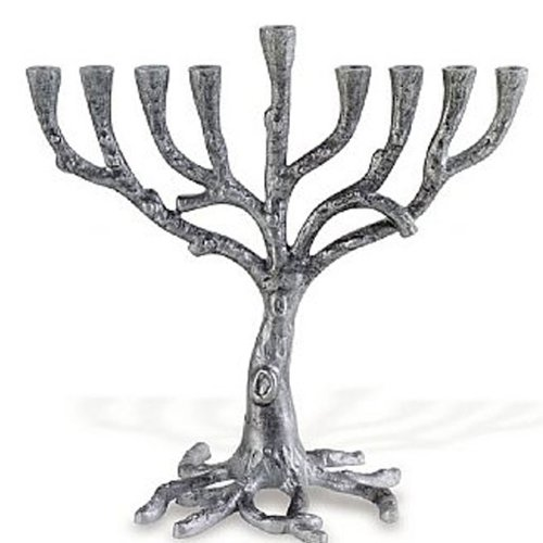 (Pewter Art Deco Tree Menorah )