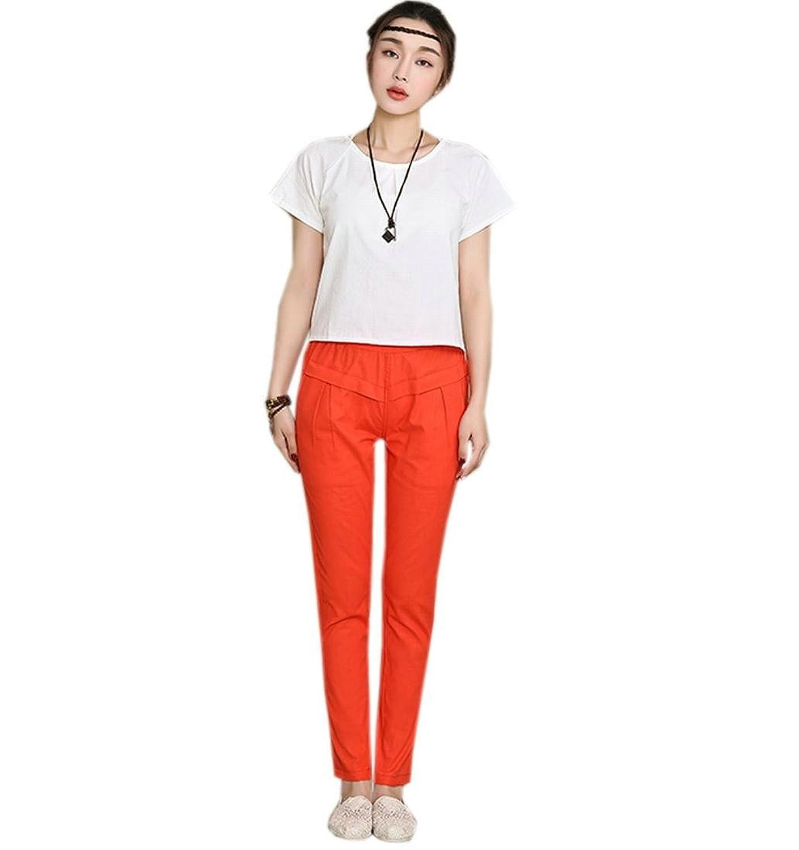 YUNY Women Linen Casual Stretch Elastic Waist Drawstring Pants