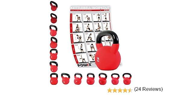 POWRX Kettlebell Pesa Rusa Hierro Fundido 4-20 kg - Revestimiento Neopreno + PDF Workout (14 kg): Amazon.es: Deportes y aire libre