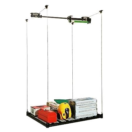 4FT X 4FT Celling Mounted Rack Garage Storage Rack Electric Hoist Shelves  Ceiling Shelf