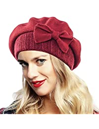 Ruphedy Womens Beret 100% Wool French Beret Chic Beanie Winter Hat