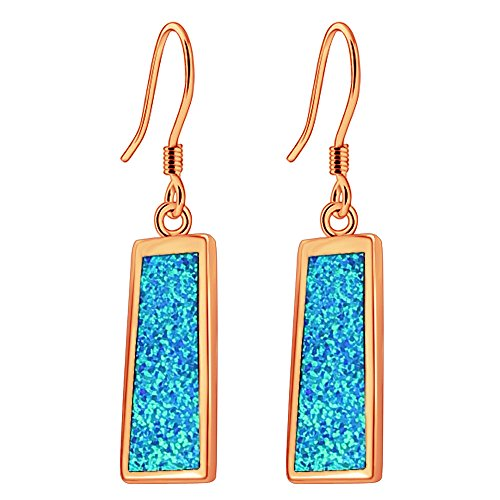 Sinlifu Rectangle Dangle Earrings for Women Rose Gold Plated Blue Fire Opal Jewelry Silver Earring (Blue+rose Gold Plated) (Art Rectangle Charm Gold Plated)