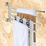LOVELY Multi Arms Towel Hanging with Hooks Rotating Towel Hanger Holder Hook Organizer Towel Holder Rail Polished Chrome Towel Bar