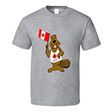 Kids Beaver with Canada Flag T Shirt
