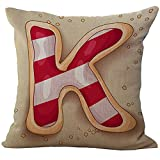 ice cream bar couch - ChezMax 26 Alphabets Dessert Printed Chair Seat Back Cushion Cover Throw Pillow Case Slip Sham Slipover Pillowcase for Saloon Club Pub Bar Sofa Bench Couch K Strawberry Ice Cream