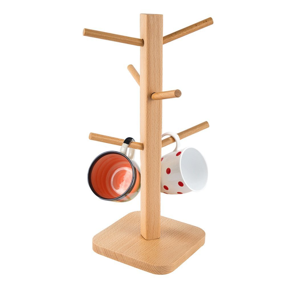HiveNets Kitchen Mug Tree Holder Beech Wooden Solid Desk Tidy Cup Organiser