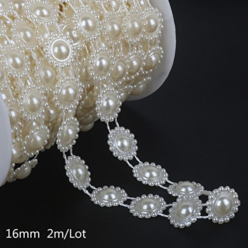 Pearl Bead Chain - Beaded Pearl Chain - Pick Size 2-10m Fishing Line Artificial Pearls Beads Chain Wedding Party Decoration Supplies Bride Flowers Accessory - 16mm Sun Flower - Pearls Beads Chain (Beads 5 16mm)