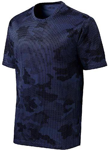 - Joe's USA - Mens or Youth CamoHex All Sport Moisture Wicking Shirts-3XL True Navy