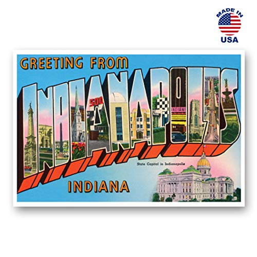 GREETINGS FROM INDIANAPOLIS, Indiana vintage reprint postcard set of 20 identical postcards. Large Letter Indianapolis, IN city name post card pack (ca. 1930's-1940's). Made in -