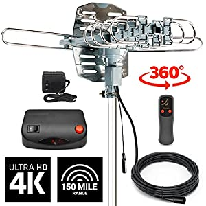 InstallerParts HD Antennas: (2018 MODEL) Amplified Indoor/Outdoor High Definition Digital Yagi Antenna for 1080p/4K HDTV w/150 Mile Range - Motorized for 360° TV Rotation w/Wireless Remote