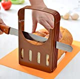 Plastic Foldable Adjustable Bagel Bread Slicer Guide Toast Loaf Sandwich Ham Cutter Mold-Crystallove