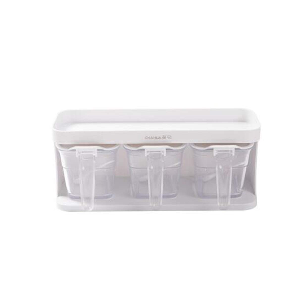 MINGRUIGONGMAO Three sets of seasoning jars, kitchen racks, seasoning boxes, seasoning bottles, pressed seasoning boxes, white Plush toys (Color : White, Size : 3) by MINGRUIGONGMAO