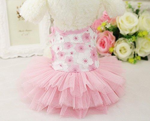 QingLuo Pet Dog Princess Bow Lace Tutu Skirt Dress Small Cute Doggie Dress for Dog Cat (S, Pink)