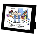 Personalized Friendly Folks Cartoon Caricature in a Color Block Frame Gift: Twin Brothers Great for room décor