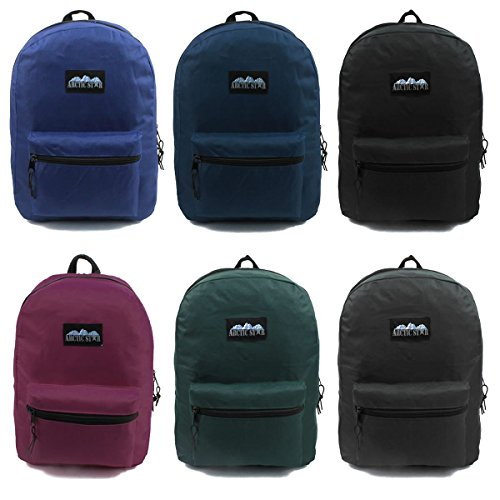17'' Wholesale Backpack 6 Solid Colors - Case of 24 by Arctic Star