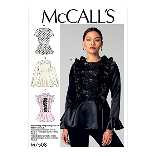 (McCalls Ladies Sewing Pattern 7508 Peplum Tops with Ruffles & Peter Pan Collar)