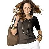 Parisbonbon Women's 100% Cashmere Scoop Neck Sweater Color Brown Size S