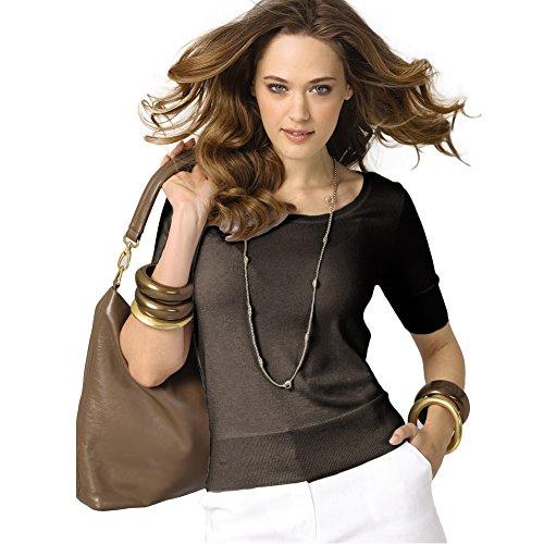 Parisbonbon Women's 100% Cashmere Scoop Neck Sweater Color Brown Size S by Parisbonbon