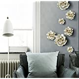 3d wall murals Stick Wall Decals Decowall Removable Wall Decals Stickers Ceramic Art Flowers Bird White M