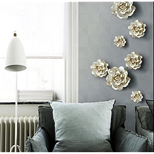 3D Wall Murals Stick Wall Decals Removable Wall Decals Stickers Art Ceramic  Flowers Bird ,white,small