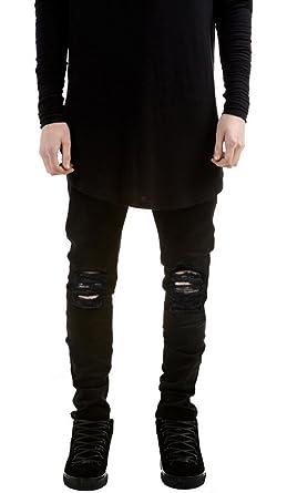 LILBETTER Männer Slim Fit Schwarz Stretch Destroyed Jeanshose Denim Jeans  Hose (Schwarz 28)