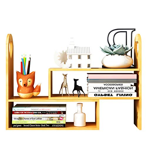 DULPLAY Simple Table Bookshelf,Oak Finish Modern Open shelfstorage Rack Multipurpose Furniture for Plant Garden Bathroom Living Room-A 42x15x45cm(17x6x18inch) (Finish Oak Stand Plant)