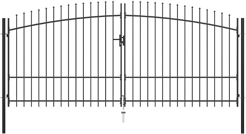 Benkeg Puerta Doble De Acero para Valla con Puntas de Lanza Negro 400x225 cm Puerta De Valla para Jardín para Tu Jardín O Patio Puerta De Jardín: Amazon.es: Hogar