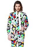 Opposuits Testival Suit for Men Comes with Jacket, Pants and Tie in Funny 80's TV Test Card Print – 100%