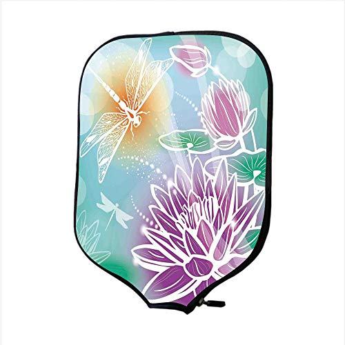 iPrint Neoprene Pickleball Paddle Racket Cover Case,Dragonfly,Silhouette Textured Macro Indian Sacred Lotus Petals with Aquatic Elements Theme,Purple Teal,Fit for Most Rackets - Protect Your Paddle -