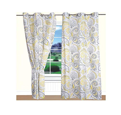 All American Collection New 4pc Yellow/Grey Paisley Printed Curtain Set (Yellow Curtains Printed)