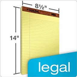 TOPS The Legal Pad Legal Pad, 8-1/2 x 14 Inches, Perforated, Canary, Legal/Wide Rule, 50 Sheets/Pad, 12 Pads/Pack (7572)